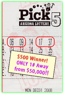 $500 Winner in Pick 5!