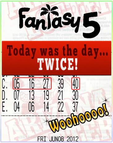 Fantasy 5 Winner!