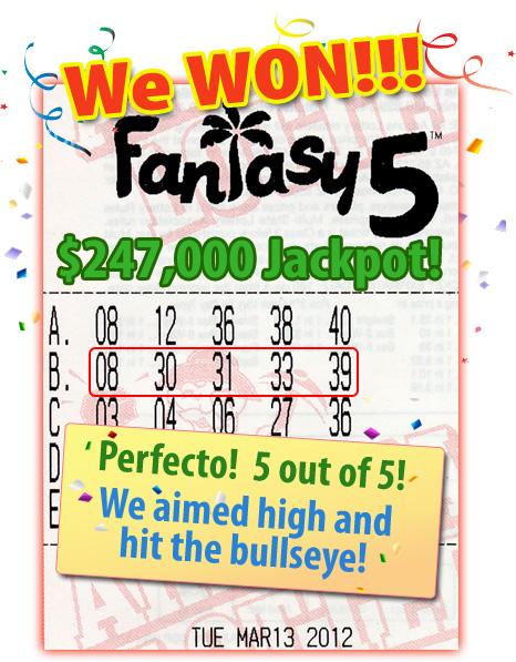 Fantasy 5 Jackpot Winner!