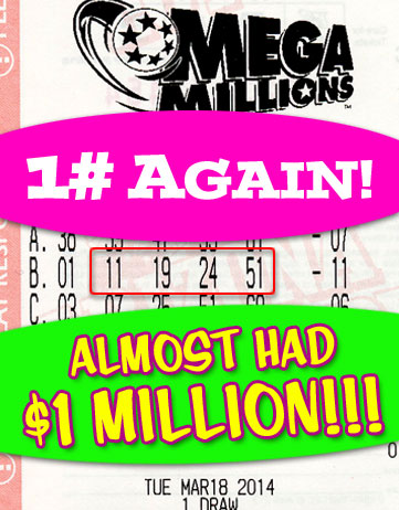 Almost had a 1 Million Dollar Winner in Mega Millions