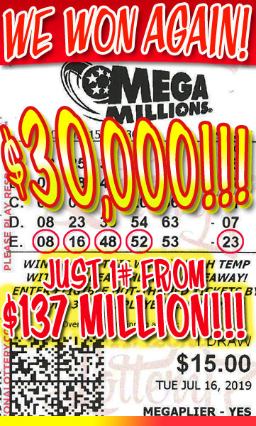 WE WON! Mega Millions $30,000 Winner in July 2019