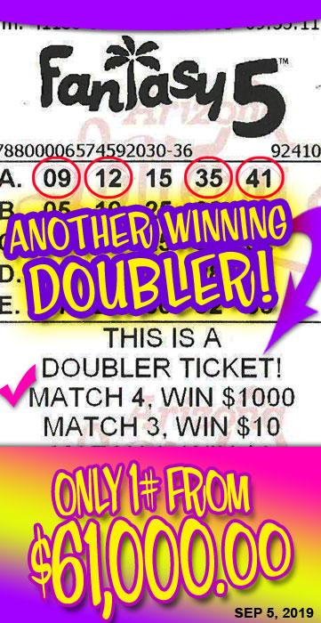 Another $1000 Fantasy 5 Doubler Winner in September 2019